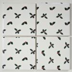 4 Ceramic Coasters in Sophie Allport Christmas Holly and Berries
